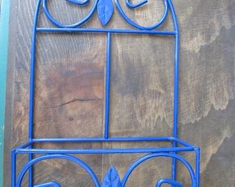 Vintage Cobalt Blue Metal Shelf