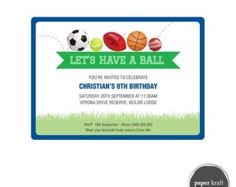 Sports Birthday Invite