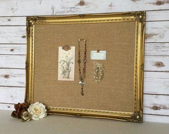 Large frame bulletin board - framed cork board - vintage frame - shabby chic decor