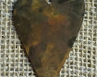 6 Primitive Flat Rusty Folk Hearts - 1.5 inch tall -  Cutout Tin Craft Supply Country Cottage Farmhouse Lodge Ornie Ornament Christmas