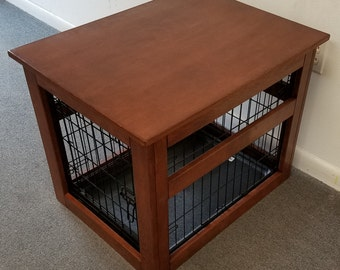 Small Wire Crate With Wooden Cover For Dog, Puppy Or Cat, End Table,