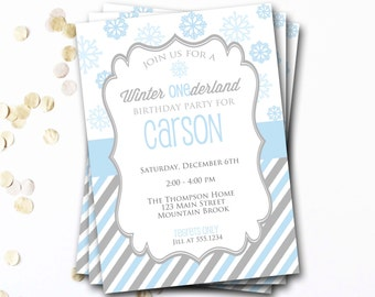 Winter Onederland Invitation, Onederland Birthday, Winter Birthday, Christmas Birthday, Snowflake Invitation, DIY Printable Invitation