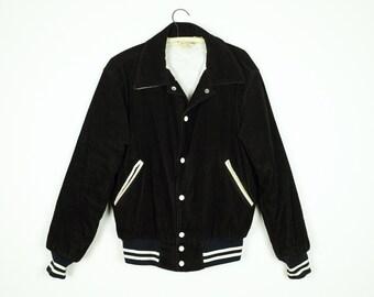 60s Vintage Black Corduroy Varsity Jacket Mens Small