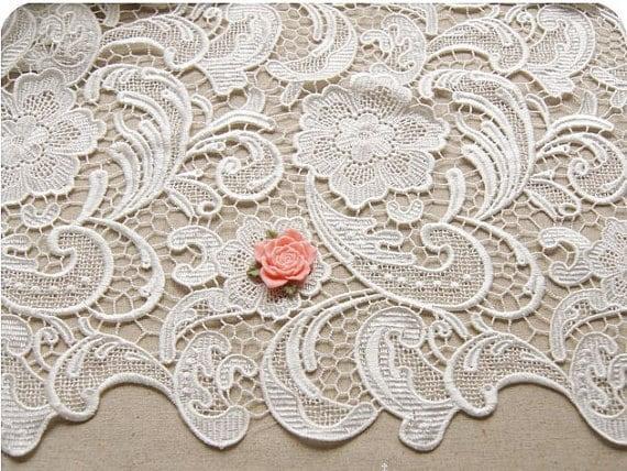 1 yard Ivory White Wedding Lace Fabric Bridal Lace Dress Wedding