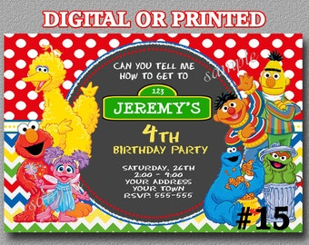 Sesame Street Invitation YOU Print Digital File or PRINTED Birthday Party Invite Printable