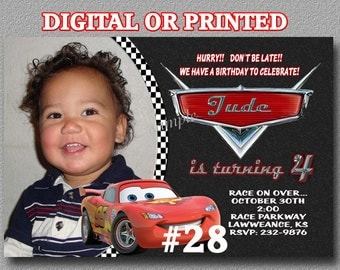 Disney Cars Birthday Invitations YOU Print Digital File or PRINTED Birthday Party Invitations includes envelopes