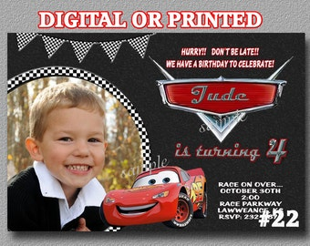 Disney Cars Invitation -  Printable Digital File OR Printed  cars photo invitation Cars Birthday invitation