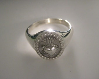 Sacred Heart silver ring