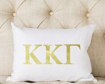 Kappa Kappa Gamma Pillow | Metallic | Gold | Greek | Sorority