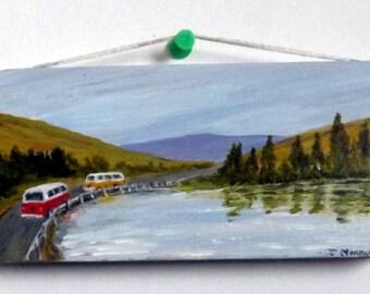 Original miniature art acrylic on wood finished in matt varnish