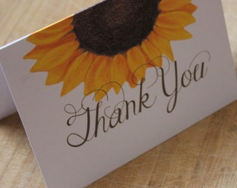 Sunflower Thank You card, Bi-fold - Set of 10