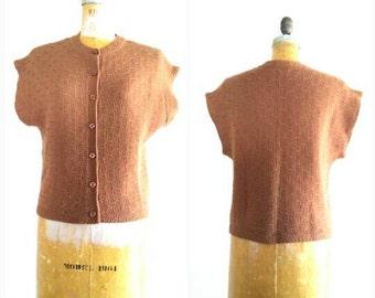 Vintage 1960s DALTON Brown Sweater, Virgin Wool Sweater, Woven Sweater, Vintage Brown Sweater, Sweater Vest by Dalton, Size Medium