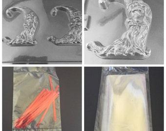 Half Moon Santa Christmas Chocolate Mold Kit Favors Soap C405 with bags & twists