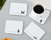 Cat Coasters, Set of Four, Gift for Cat Lovers, Cat gift, Coasters, Cat Lover,