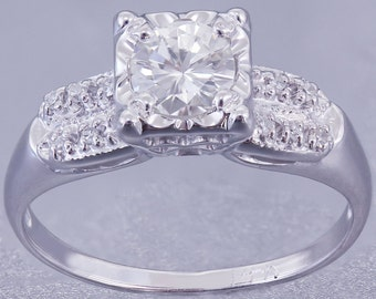 14k White Gold Round Cut Simulated Diamond Engagement Ring Art Deco Antique Style 0.70ctw