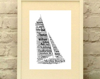 Personalised Sailing Dinghy print- Gift for Sailor - Sailing Picture - Father's Day