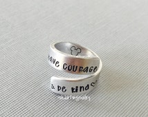 Cinderella Inspired Ring. Have Courage and be Kind.