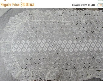 SALE Eyelet Pale Yellow Eyelet Dresser Runner from the 40s