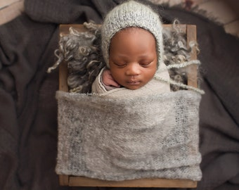 "MOHAIR BABY WRAP: 18"" X 30"",  gray baby wrap, stretch wrap, layering, baby photo prop, newborn photography prop, basket, bowl, scarf"