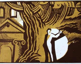 "Linocut ""Aureliano.One Hundred years of solitude"""