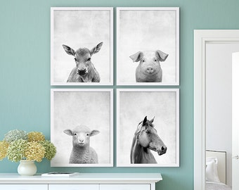 Farm Animal Prints Old McDonald Animal Nursery Art Set of Four Large Art Prints Grey Prints Cow Print Pig Horse Poster Sheep Beautiful Art