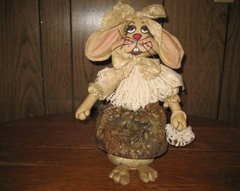 """Adorable Country Primitive Easter Rabbit Doll.  OOAK !!!!    13"""" Tall   So Sweet With Dirty Little Sculptured Feet and a Purse!!"""