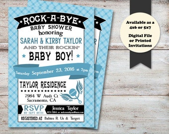 Rock a Bye Baby Shower, Musical Baby Shower Invitation, Rockin Baby Shower Invitation, Musician Baby Shower Invitation, Digital or Printed