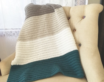 Baby blanket, striped blanket, ombré, modern baby nursery, baby gift, crocheted baby blanket, afghan