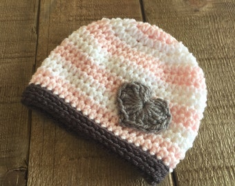 Striped baby beanie, heart beanie, baby gift, baby girl accessory, baby hat, layette, crocheted baby hat