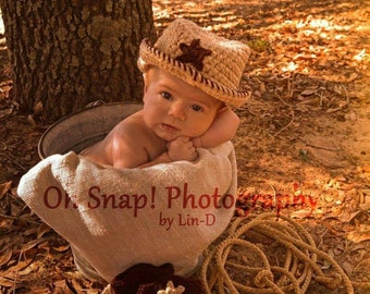 Crochet Cowboy Set...Photography prop, cowboy hat,  cowboy boots, diaper cover