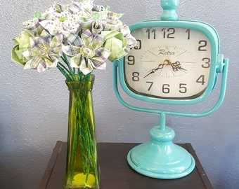 Green with Purple Origami Flower Arrangement