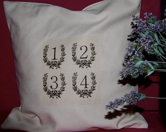 15 by 15 Pillow Cover - Handmade - 1-2-3-4-  French Country Style