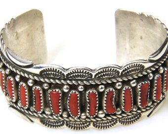 Vintage Amazing Red Coral & Sterling Silver Cuff Bracelet Stamped Artisan