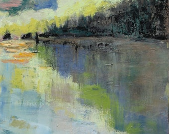 SOLD_____Along the bank, Greens, Blues, Original on Canvas, 4'x2', Original Work,