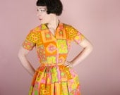 COLOURFUL 50s 60s dress orange pea green yellow SUMMERY floral painterly ROMANTIC vintage rockabilly belted swing dress s-m uk12