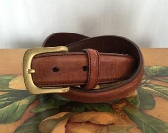 Brown Belt Vintage Gold Solid Brass Buckle Distressed Leather Men's size 32