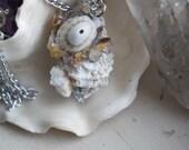 Boreal- Spiral Citrine, Zeolite, and Quartz Crystal Shell Necklace