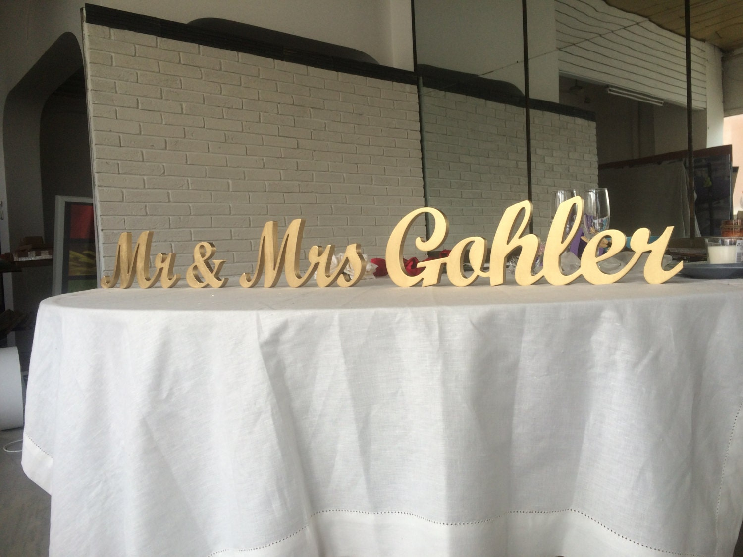 Personalized Mr & Mrs Last Name Sign Wedding Top Table