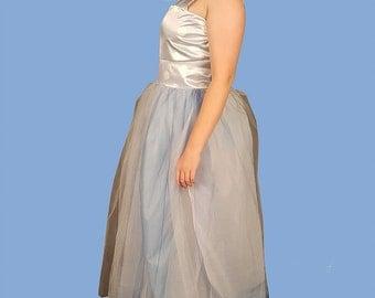 Blue Silk Tulle Ballgown Formal Light Blue Dress