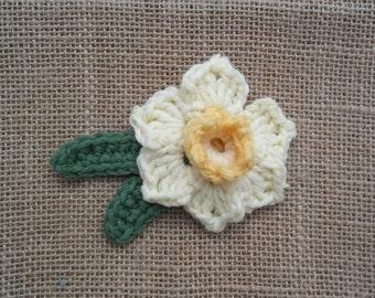 Crochet Daffodil Brooch