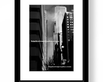 Black and White Print, Photograph of Chicago, Fog, CTA