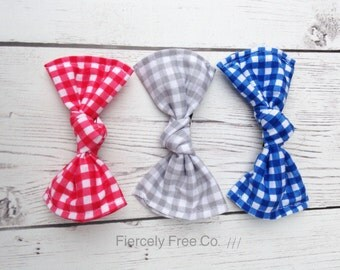 Red, Blue, and Grey Gingham Barrette Set, Kid's Baby Girl's Barrettes
