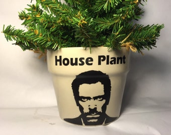 House MD plant planter, hugh laurie fan, personalized gift for mom, grandmother, flower pot, gardener, gardening enthusiast, herb garden