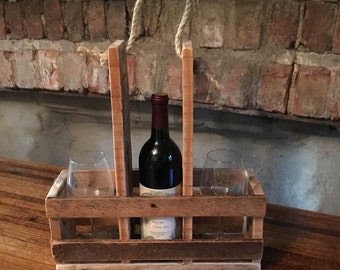 Wine Bottle & Glass Carrier made from Pallets