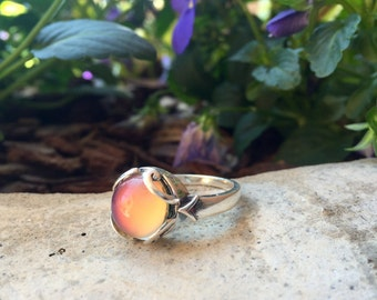 Sterling Silver Mood Color Changing Ring 12mm Size 7
