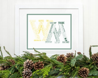 The College of William and Mary (W&M) Typographical Art Print | 8x10 or 11x14