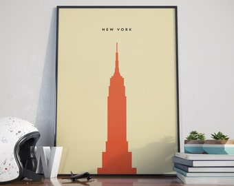 New York Empire State Building Print. A3 Poster.
