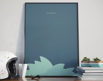 Sydney Opera House, Australia, Sea Blue Edition. Print. Poster.