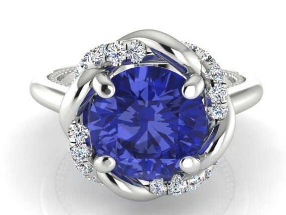 engagement wedding ring natural tanzanite braided halo. Black Bedroom Furniture Sets. Home Design Ideas