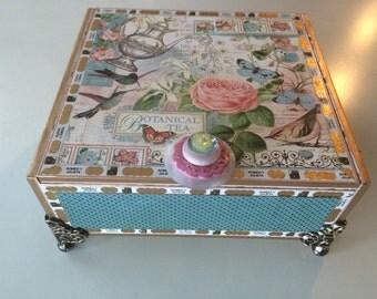 Hummingbirds  Keepsake Box Memory Box Altered Cigar Box Embellished Box Storage Box